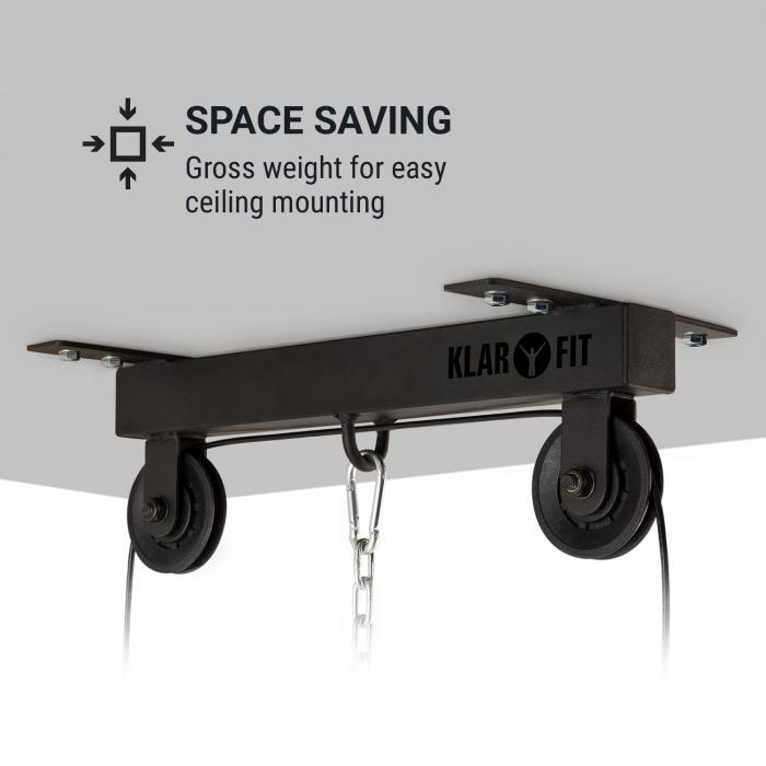 Hangman Lat Machine Installazione a Soffito Cavo di 2 Metri Barra per Tricipiti Nero