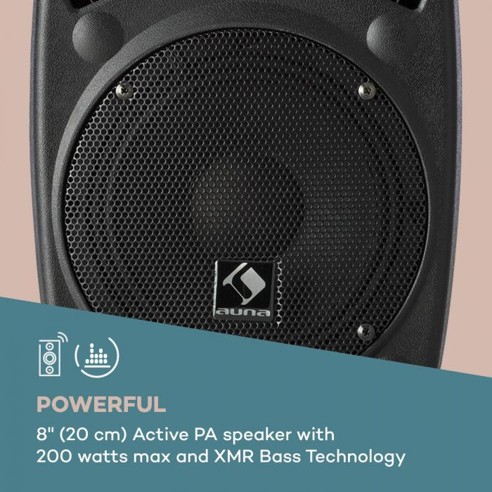 "Streetstar 8 Equipo PA portátil + Trípode Woofer de 8"" Micrófono UHF 200W Negro"