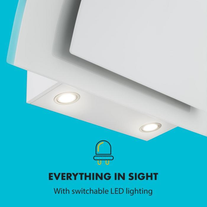 Sabia 90 Campana extractora 90 cm 600m³/h LEDs 3 niveles de potencia Blanco