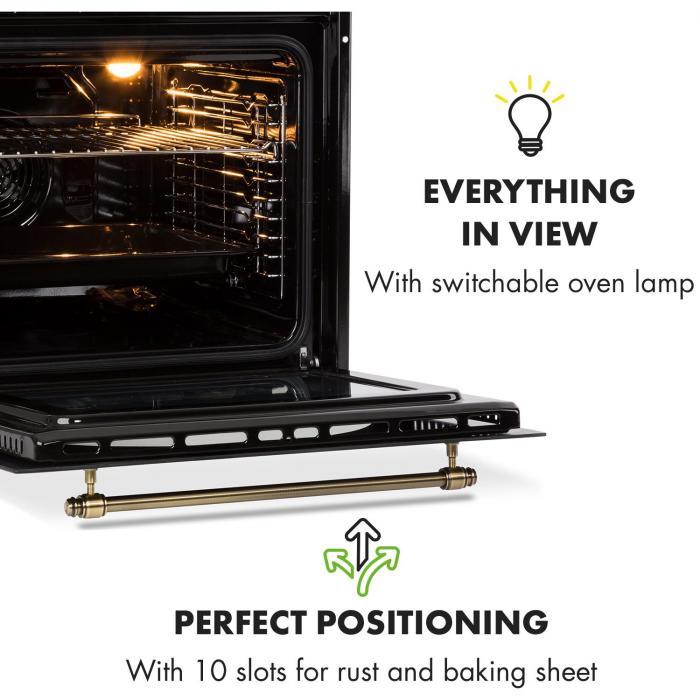 Victoria Set Built-in Oven Extractor Hood Retro Design Black