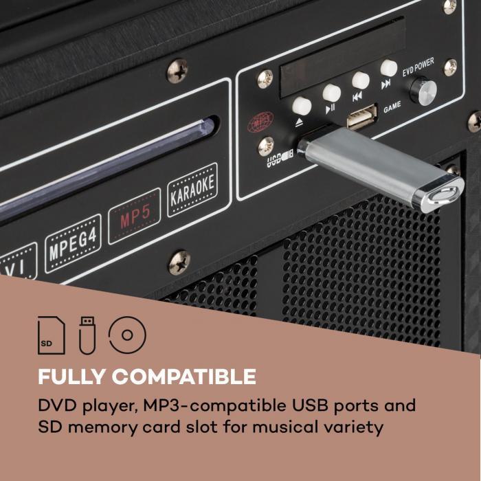 """DisGo Box 100 DVD kannettava PA-laitteisto, 300 W max., 9"""" TFT-näyttö, DVD, bluetooth"""