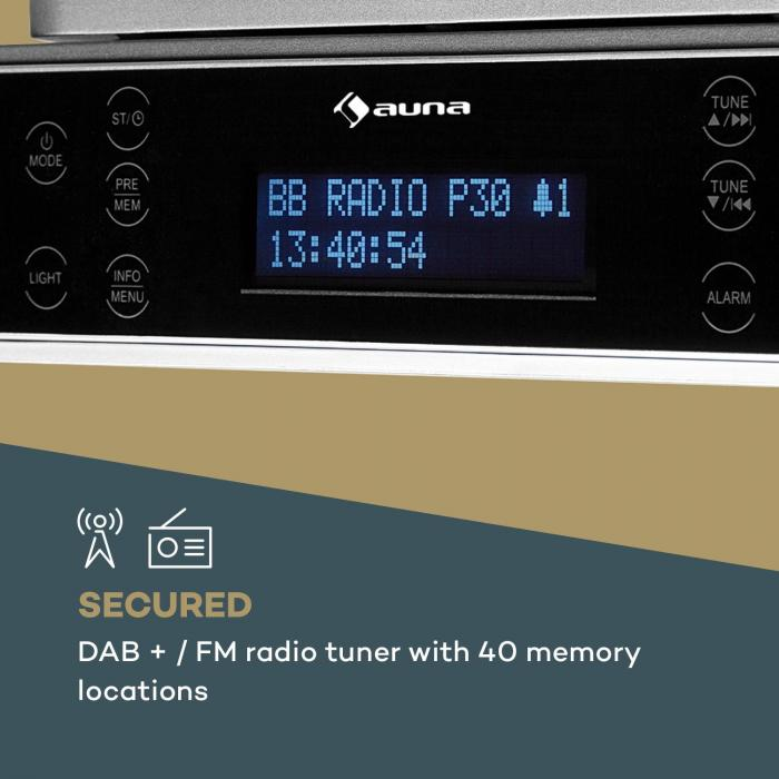 KR-140 Bluetooth Kitchen Radio Hands-free LED Lighting Silver