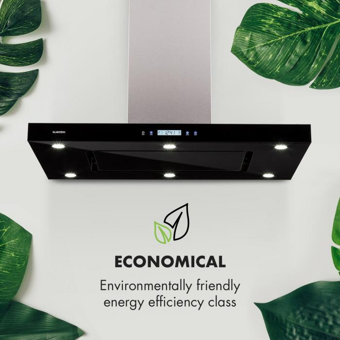 Valeria Inselabzugshaube 90cm 650m³/h Abluft Touch LED Glas Edelstahl