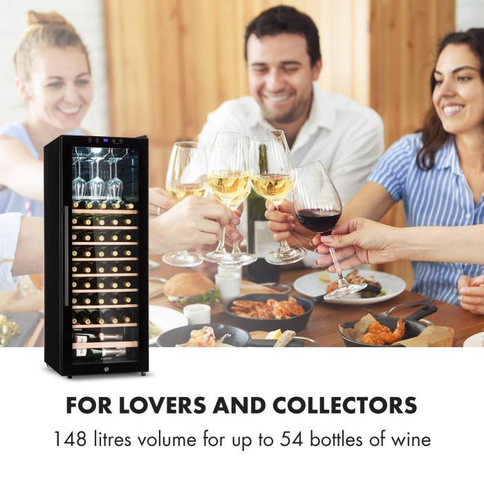 Barossa 54S Wine Fridge 1 Zone 148 L 54 Bottles Glass Door Touch
