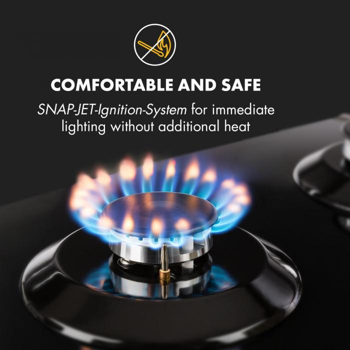 Ignito Domino Gas Hob 2-Burner Sabaf Burner Glass Ceramic Black