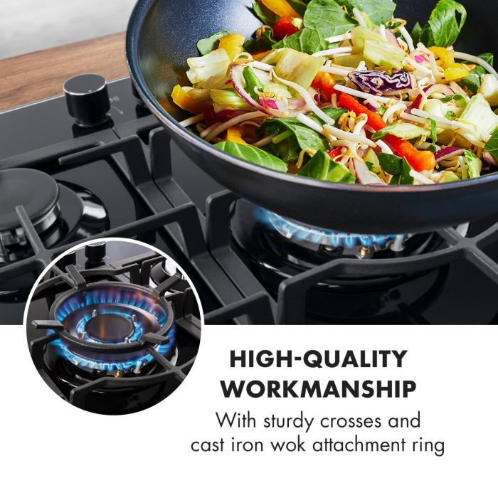 Ignito 5 Zone Gas Hob 5-Burner Sabaf Burner Glass Ceramic Black