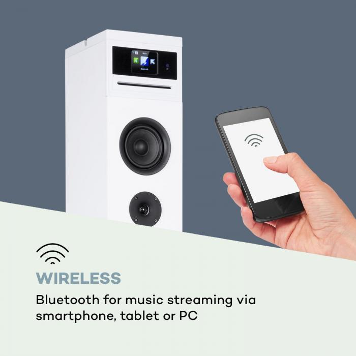 Karaboom 100 Wifi Turmlautsprecher Internetradio DAB+ BT 120W weiß
