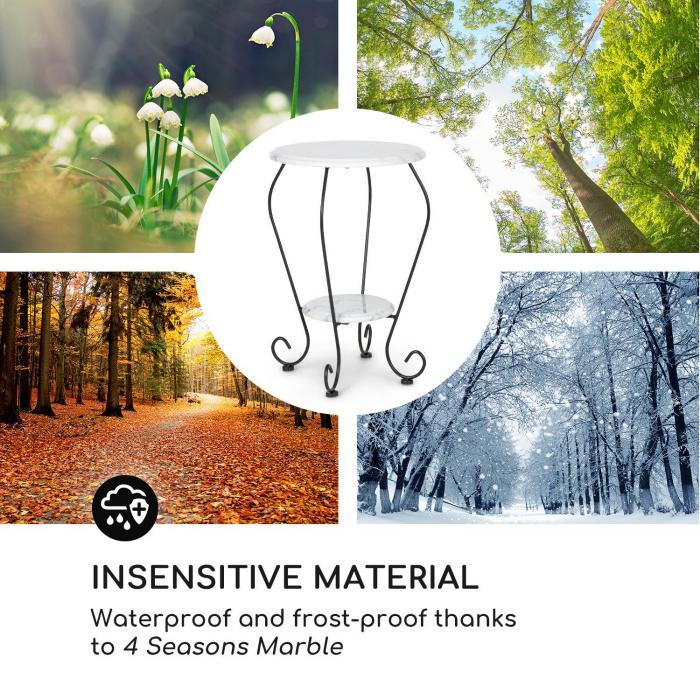Patras Flower sivupöytä 4-Seasons-Marble vedenkestävä valkoinen
