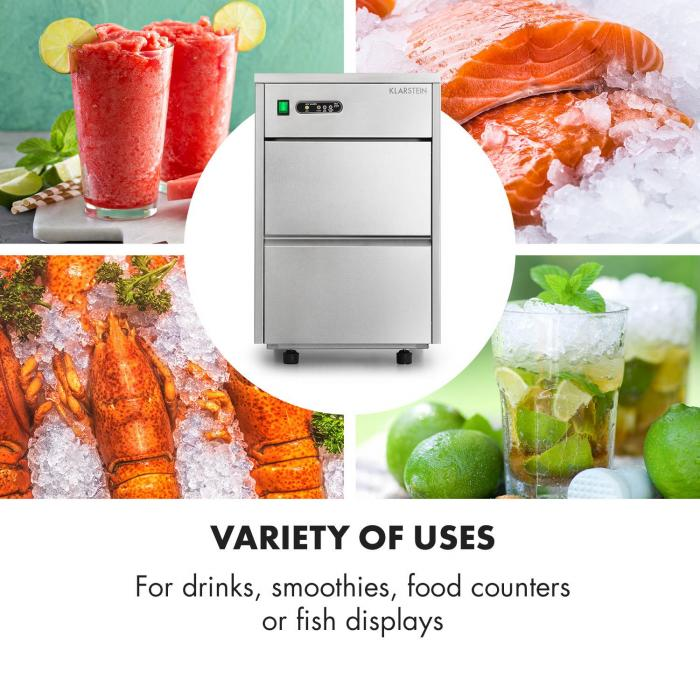 Frostica Ice Cube Machine Flake Ice Maker 20kg / 24h Stainless Steel Silver