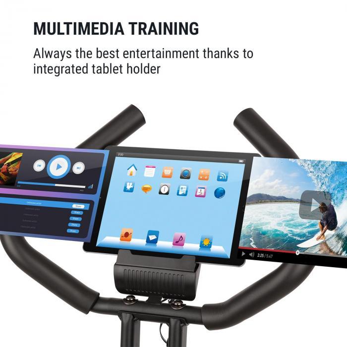 X-Bike XBK700 Pro Bicycle Exercise Bike Ergometer Heart Rate Monitor Foldable black