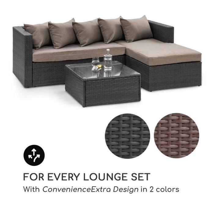 Theia Table -sohvapöytä polyrottinki lasilevy musta