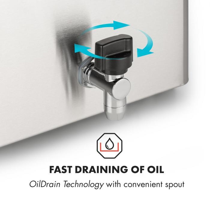 Family Fry Friggitrice 3000W Oil Drain Technology Acciaio Inox argento