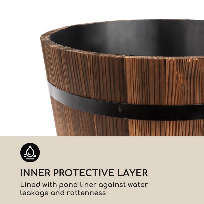Trifloris set houten emmers 3 houten kuipen van dennenhout bruin