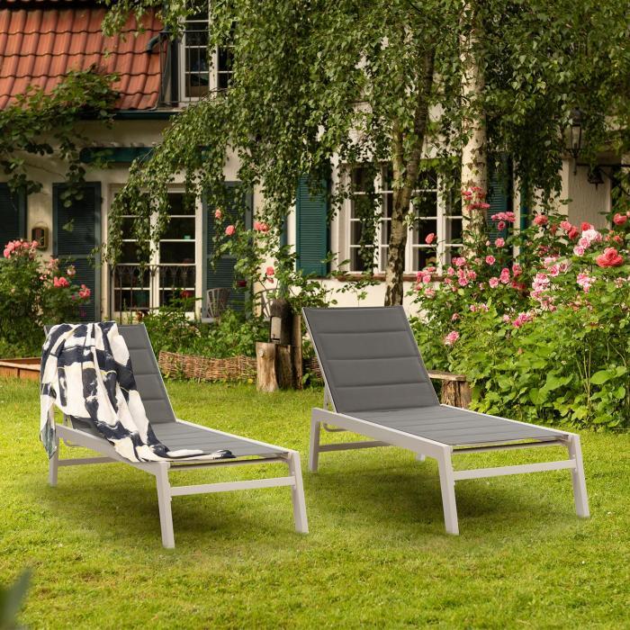 Renazzo Lounge lepotuoli 70/30 PVC/PE alumiini 6 tasoa valkoinen/harmaa