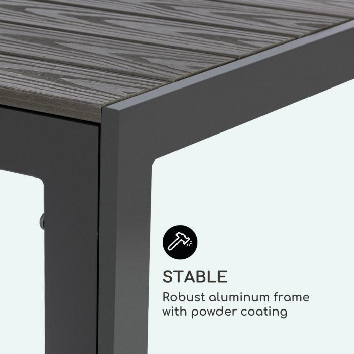 Bilbao -puutarhapöytä 150 x 90 cm polywood alumiini antrasiitti