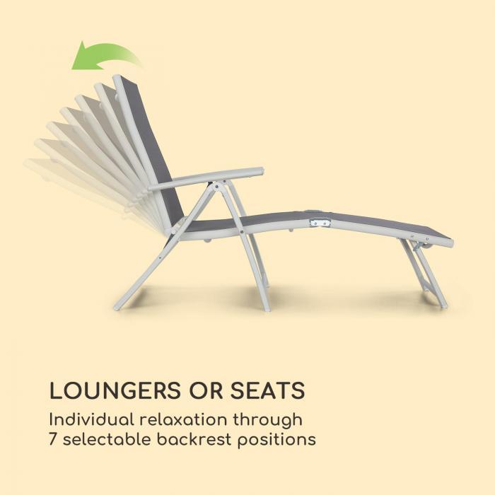 Pomporto Lounge Chair PVC PE Alumínio 7 Níveis Branco/Cinza claro