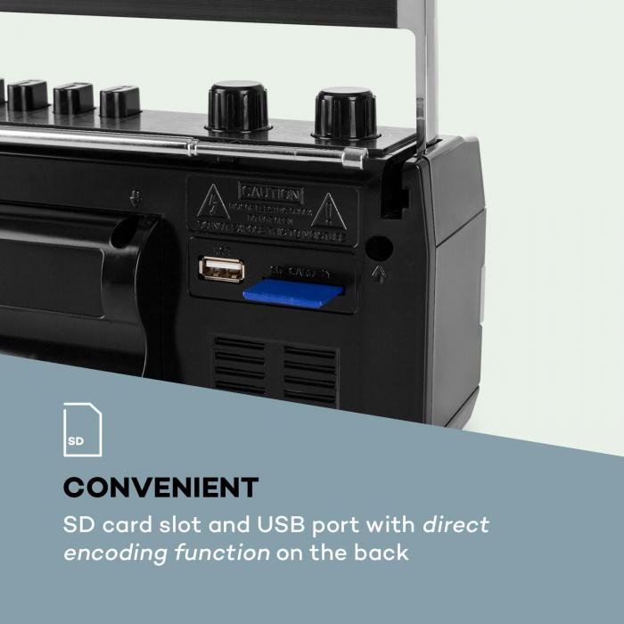 Duke MKII Cassette Recorder Radio BT USB SD-Slot Telescopic Antenna Black