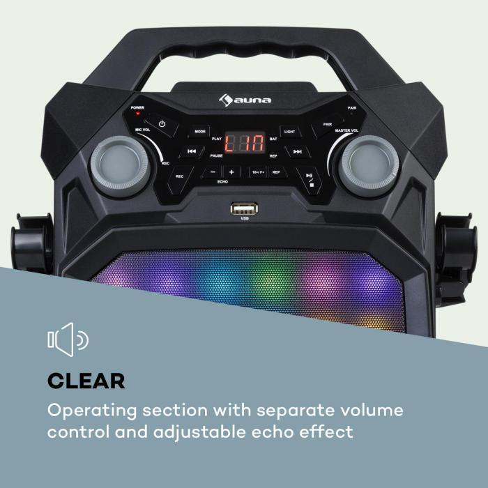 Rockstar LightShow Karaoke System BT USB Line-In/Out 2 x 6.3mm Black