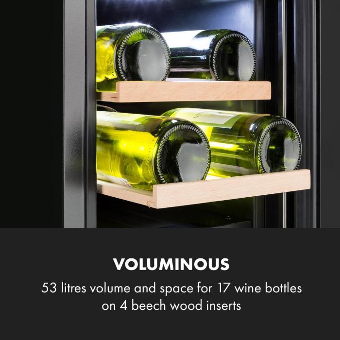 Vinovilla 17 Built-in Duo Onyx Edition Zweizonen-Weinkühlschrank 53l 17 Fl. 3-Farben Glastür schwarz