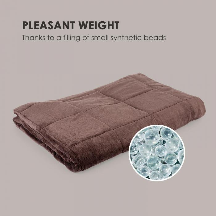 Cosycalm Weighted Blanket Microplush Synthetic Beads 150 x 200 cm 9 kg brown