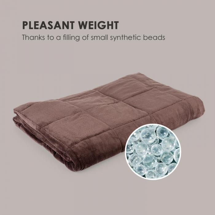 Cosycalm Weighted Blanket Microplush Synthetic Beads 150 x 200 cm 11 kg brown