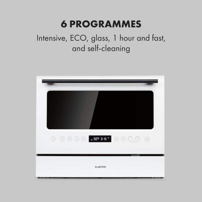 Azuria Geschirrspülmaschine EEK A+ 1380W 6,5L 6 Gedecke schwarzer Glasfront weiß