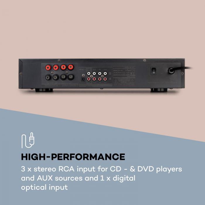 AV2-CD608BT HiFi-Stereo-Verstärker 4x100W RMS BT Dig-Opt-In Fernbedienung silber