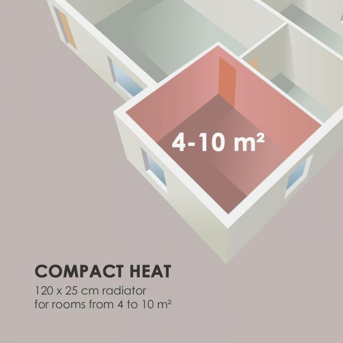 """Delgado 120 x 25 -lämmitin 508 W lämminvesi 1/2"""" 4–10 m² harmaa"""
