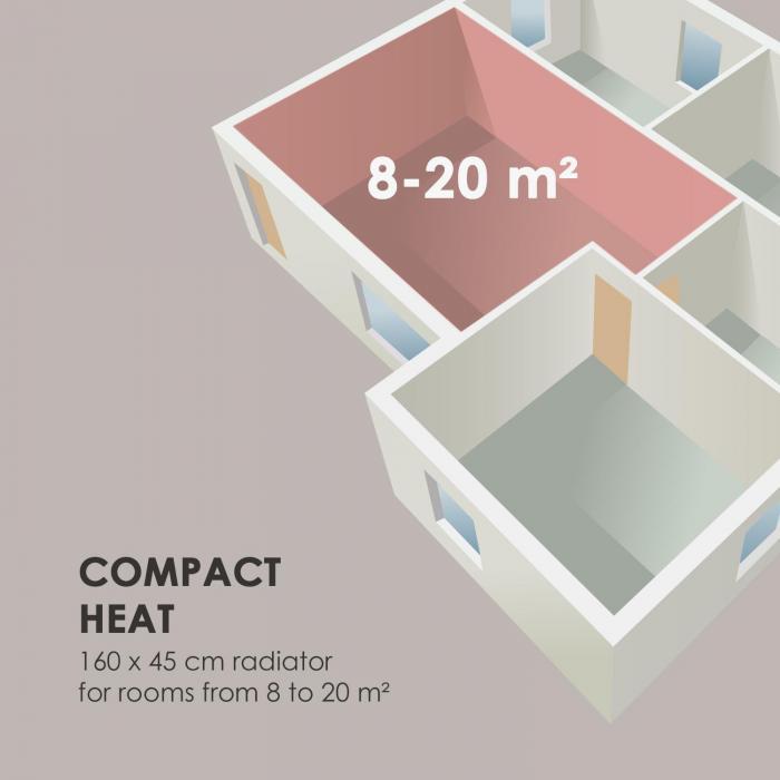 """Delgado 160 x 45 -lämmitin 822 W lämminvesi 1/2"""" 8–20 m² harmaa"""