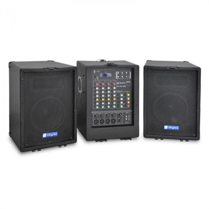 pa 100usb mobile pa anlage 2x 300w usb mp3 4 kanal mixer. Black Bedroom Furniture Sets. Home Design Ideas