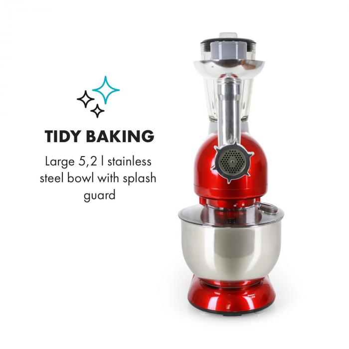 Lucia Rossa Stand Mixer Meat Mincer Mixer 1200W - Red