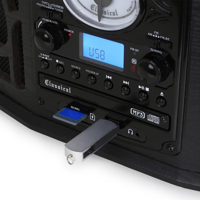 NR-620 Impianto stereo giradischi con lettore MP3 Legno nero
