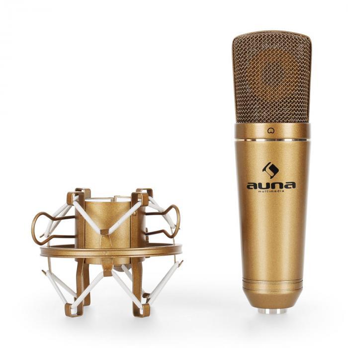 Studio microfoonset - bronzen USB microfoon niervormige ADC & microfoon tafelstatief