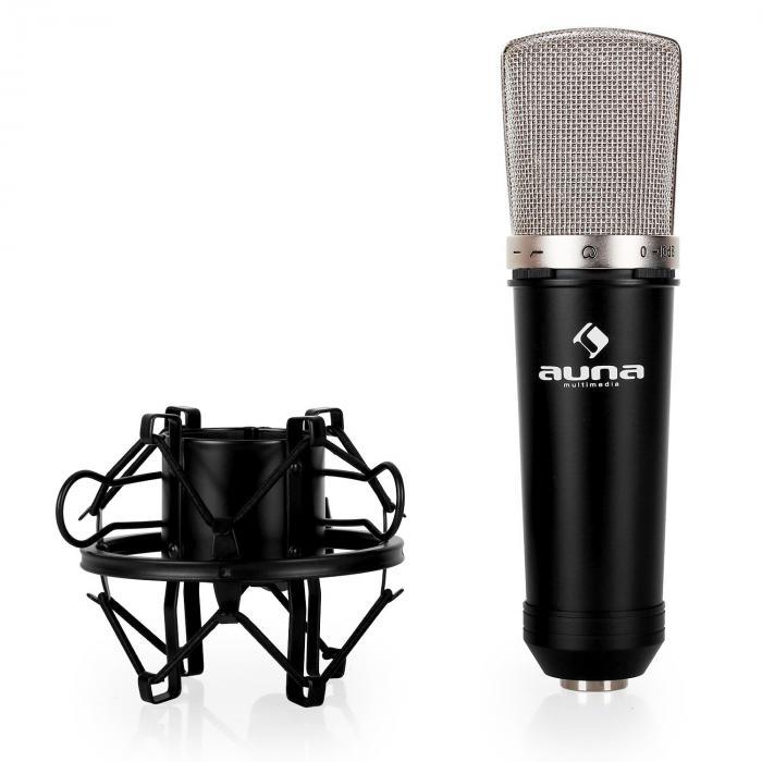 Studio Microphone Set w/ XLR Condenser Mic Black & Mic Table