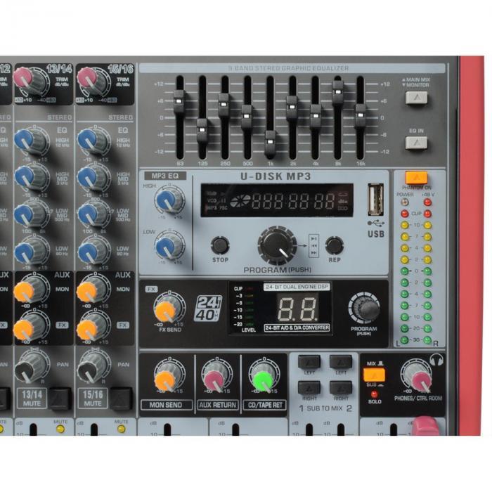 PDM-S1203A 12-kanavainen mikseri AMP USB DSP MP3 AUX EQ FX