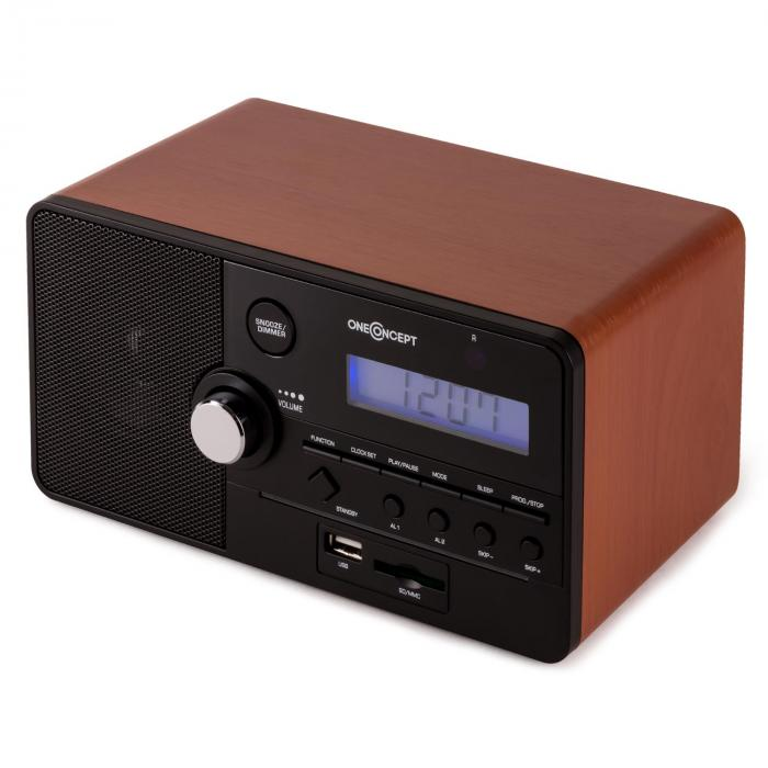Luzern Alarm Clock Radio SD USB - Brown