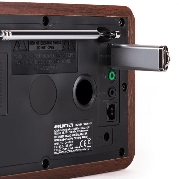 Worldwide Radio con internet WLAN/LAN DAB/DAB+ USB AUX Alarma dual radio FM