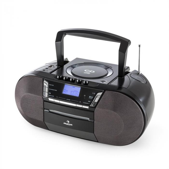 JetpackBoombox Portatile USB CD MP3 OUC a Pile Nero