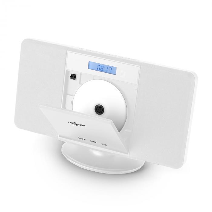 V-13 Stereoanlage CD MP3 USB Radio Wecker weiß Wandmontage