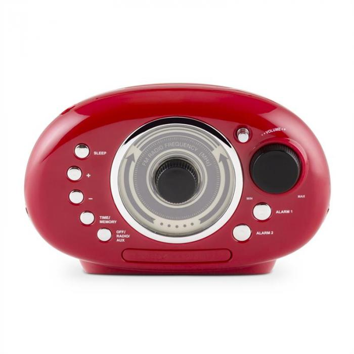 RCR 56 RD Retro kelloradio FM AUX kaksoisherätys punainen