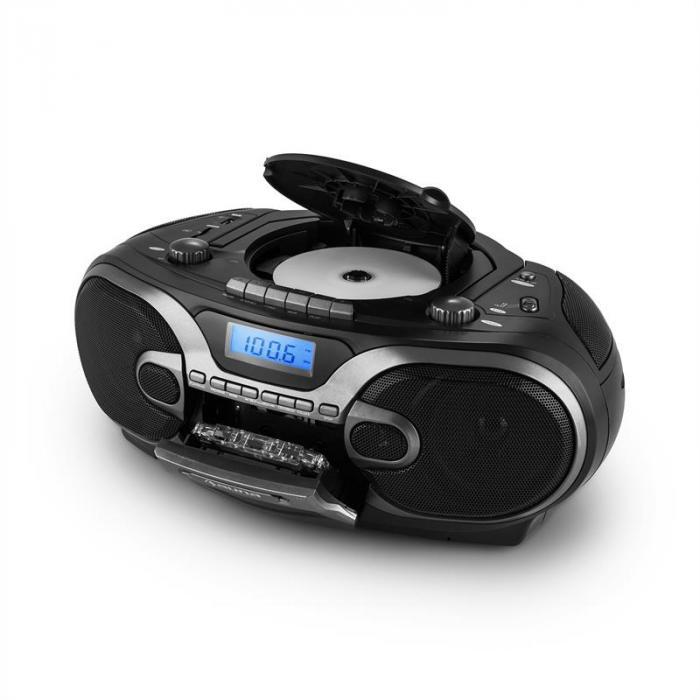 RCD 230 tragbares Stereo-CD-Radio USB SD MP3 Kassette UKW/MW schwarz