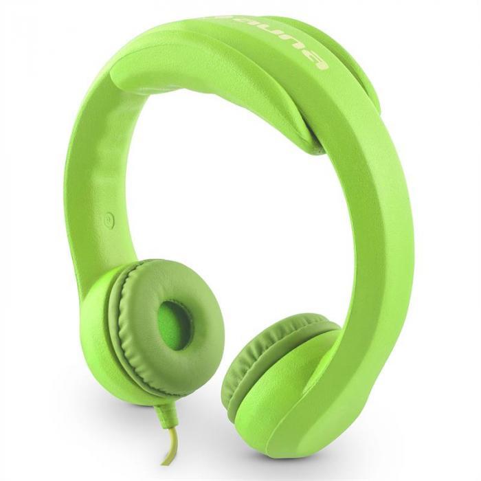 Flexi hoofdtelefoon voor kinderen max. 85dB ultraflexibel buigzaam neongroen