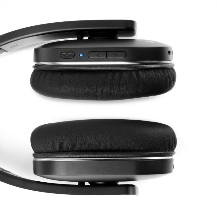 Elegance Bluetooth-NFC-Kopfhörer Akku Freisprech Kunstleder Alu aptX