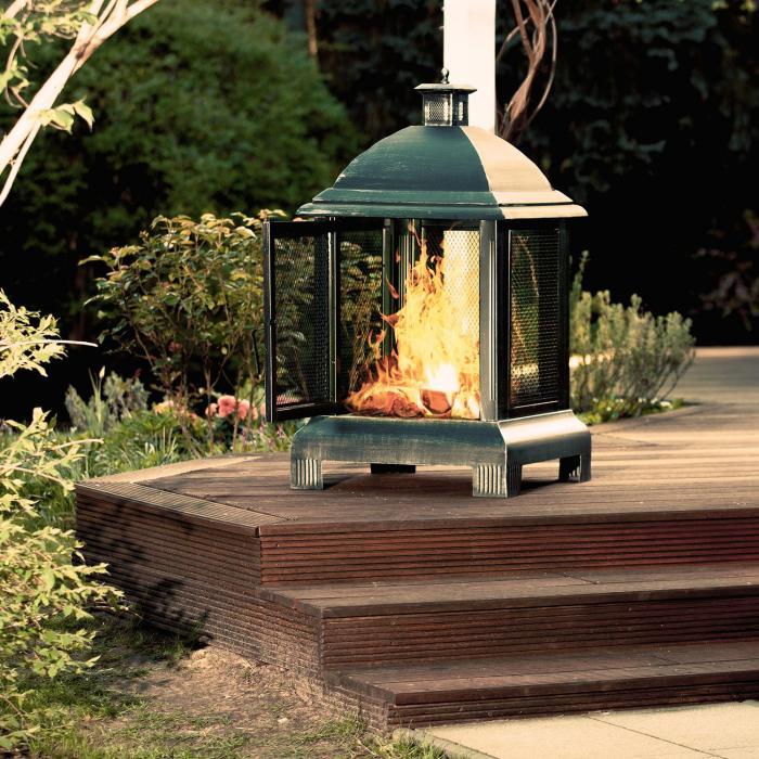 Loreo focolare camino e stufa da giardino lanterna acciaio - Camino da giardino ...