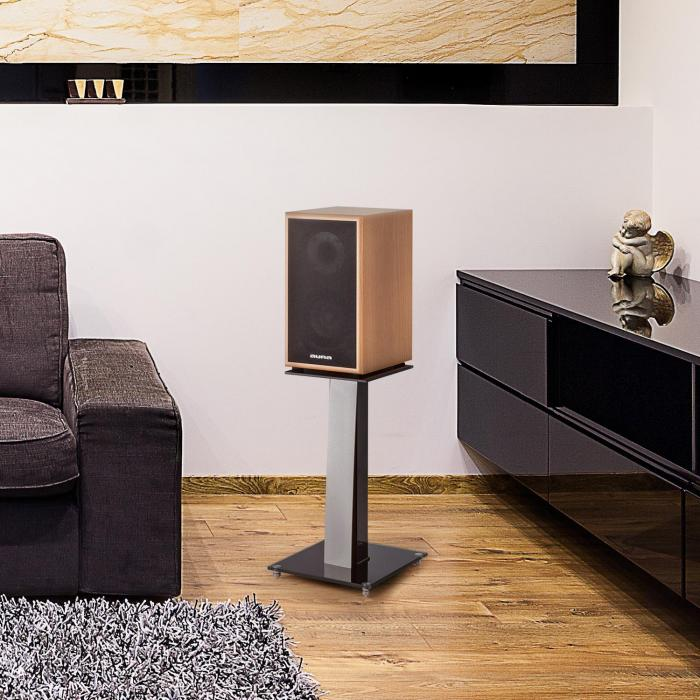 BS-03S-WHOA Speaker Stands Pair Aluminium Glass MDF Cable Duct incl. Spikes Oak veneer