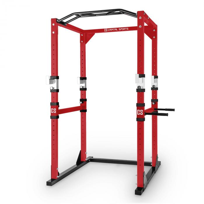 Tremendour Power Rack Homegym Stahl rot weiß