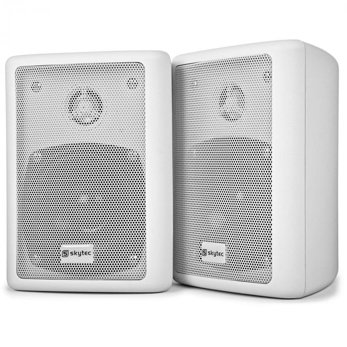 SPL 300 VHF PA Amplifier Set 2 Speakers Speaker Cable White