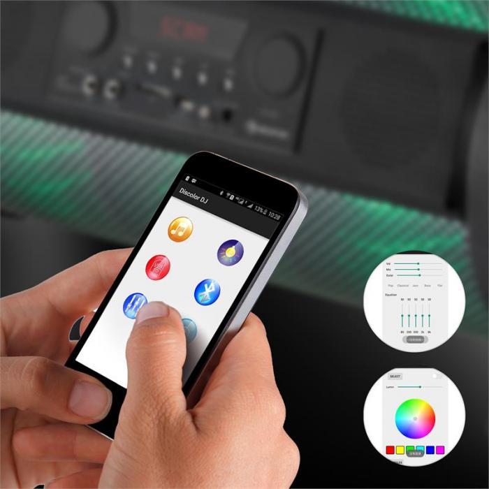 Thunderstorm mobiler Bluetooth-Lautsprecher 120W max. Akku USB SD LED