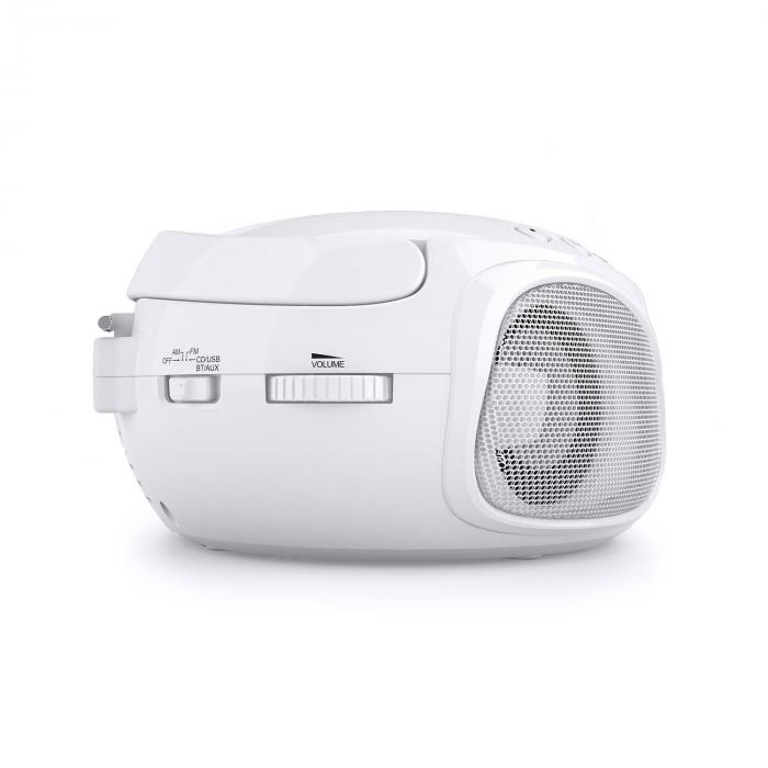 Roadie Boombox CD USB MP3 Radio OM/OUC Bluetooth 2.1 Gioco Cromatico LED bianco