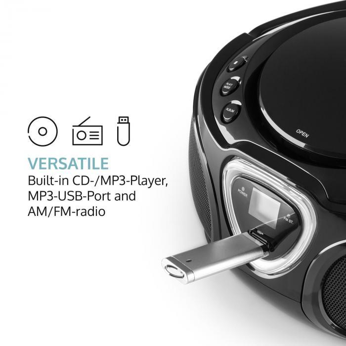Roadie Boombox CD USB MP3 MW/UKW-Radio Bluetooth 2.1 LED-Farbspiel schwarz
